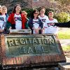 ESU staff celebrate the unearthing of a time capsule.