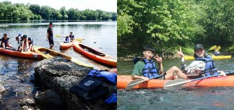 Chinese students on a kayak trip on the Delaware River.