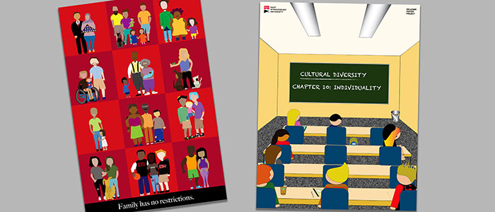 Two Inclusion Project posters developed by Graphic Design students.