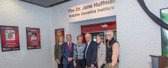 The family of the late Dr. Jane Huffman celebrate the dedication of the Dr. Jane Huffman Wildlife Genetics Institute.