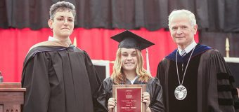 Becky (Martin) Sieg received the University Service Award during her 2005 commencement ceremony