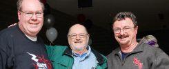 ESU alumnus, James McFadden, professor emeritus Dr. Paul Houle, Dr. David Buckley, professor of physics
