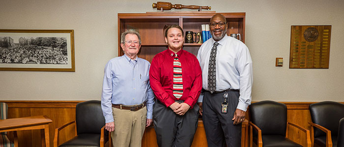 New Student Trustee William Green with Interim President Kenneth Long and COT Chairperson Patrick Ross